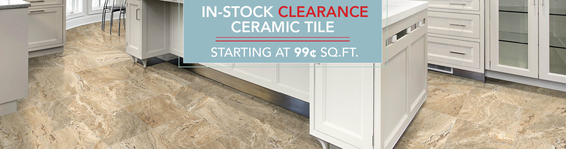In-stock clearance ceramic tile starting at $0.99 sq.ft.